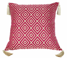 "Moroccan Cushion Cover Red & Gold Silk Tassels 60cm x 60cm / 23.6""x23.6"" (CGC4)"
